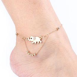 gold-fußkettchen-designs Rabatt (Gold Silber Farbe) Elefant Design Frau Fußkettchen Casual Metal Alloy Frauen Gril Knöchel Armband Schmuck - Großhandel