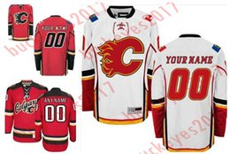 Wholesale Flame Numbers - Custom Calgary Flames Mens Womens Youth Red third home White Personalized Stitched Any Name Number Cheap ice Hockey Jerseys S-4XL