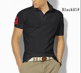 Wholesale Polo Shirt Khaki - Big Size S-6XL Polo Shirt Men Big Horse Solid Short Sleeve Summer Casual Horse polo T shirts Mens Short Sleeve Casual Shirts Free shipping