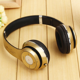 Wholesale Silver Blue Headbands - S460 Wireless Bluetooth Headsets Stereo Head-Mounted Headphones With Microphone FM TF Card Universal For Samsung IPHONE Mobile