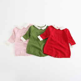 Wholesale onesie dresses - INS Baby Clothing New Autumn Knit Hollow Out Long Sleeve Winter Girls open files Romper Princess Dresses Newborn Onesie C1300