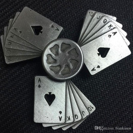 Wholesale Poker Playing Card - Metal Poker Spinner Zinc Alloy Poker Card Fidget Spinners Metal Playing Cards Hand Spinner EDC Decompression Fidget Toys
