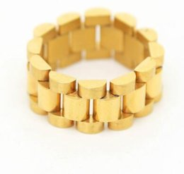Wholesale golden chain watches - Hip hop Men Stainless steel Chain Ring Punk Style Gold Silver Three Row Watch Strap Golden Rings Fashion Party Jewelry