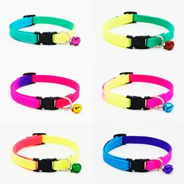 Wholesale Wholesale Small Bells - Rainbow Dog Cat Bell Collar Adjustable Outdoor Comfortable Pet Collars For Small Dogs Puppies Pets Collars Safety Bucker