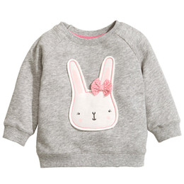 Wholesale Bunny Sweater Girls - 22017 Easter Gift Girls Coat Jacket Kids Gray Cotton Bunny Cartoon Jumper Sweater Children Spring Top Blouse