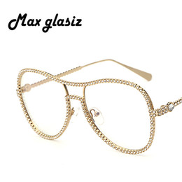 Wholesale Unique Sunglasses - Wholesale- Women Luxury diamond metal Shades Glasses Female Unique Brand Design Sun glasses Clear Lens Fashion Style Sunglasses UV400