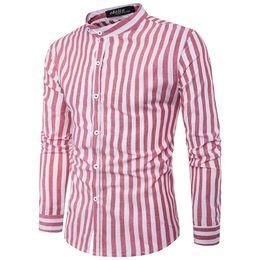 Argentina Nueva moda Casual Camisa de vestir para hombres Cuello mandarín Big Stripe Slim Fit Camisa de hombre para hombres de negocios de Corea Camisas de vestir para hombres Suministro