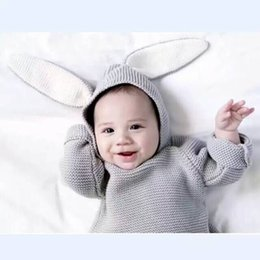 Wholesale Baby Jumper Winter - Kids Cotton Rabbit Style Long Ear Hooded Sweaters For Boys Girls Baby Fall Sweater Knit Clothing Cardigan 2102114