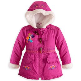 Wholesale Girls Puffer Down - 2016new Frozen Down Coat cotton padded Puffer Jacket Girl Winter Fleece Outerwear Anna and Elsa Children Hooded Coat Kids Down Parkas