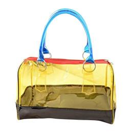 Wholesale Wholesale Clear Pvc Woman Handbags - Wholesale- Fashion Women Bag Jelly Clear Bucket Shoulder Bag PVC 2in1 Clutch Tote Handbags