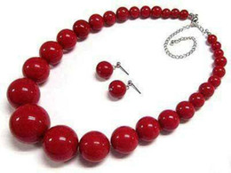 Wholesale Red Coral Beads Necklace Sets - Beautiful! 7-15mm Red Coral Round Beads Necklace Earrings Set 18""