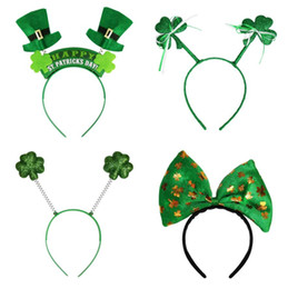 Wholesale Top Hat Wholesalers - Irish St Patricks Day Headband Green Leprechaun hairband Shamrock Buckle Fancy Dress Carnival Christmas accessories party top hats favor
