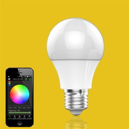 Wholesale Color Changing Dimmable - In Stock Bluetooth LED Bulb 4.5W E27 RGBW Bluetooth 4.0 Wireless Smart LED Light Color Change Dimmable Bulbs IOS Android APP Free Shipping