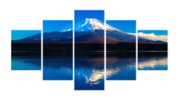 Wholesale wall mount animal - 5pcs set Unframed Mount Fuji Japanese Mountain Print On Canvas Wall Art Picture For Home and Living Room Decor