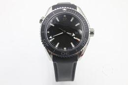 Wholesale Eta Movement Watches - Top NEW Black ETA 8500 Movement Case Sea Planet Ocean BEZEL automatic movement glass back transparent STEEL Belt band original clasp watch