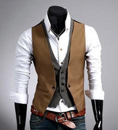 Wholesale mens vests sale - Wholesale- Hot sale Men's plaid vest fake two design men Slim sleeveless jacket mens dress vest formal fashion casual waistcoat suit