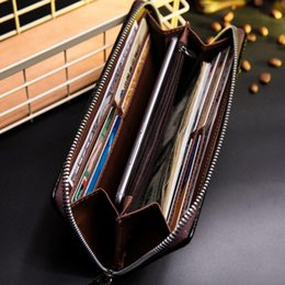 Wholesale Wholesale Purse Straps Chains - 2017 new Baborry Men's Long Wallets New Plaid Hand Strap Zipper Closure Black Coffee Quality Soft Large Capacity Credit Card Holder Purse