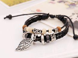Wholesale Korean Necklace Punk - 2017 new beaded leather bracelet Korean bracelet jewelry hot punk leather necklace