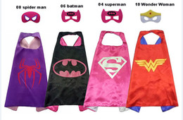 Wholesale Spiderman Kid Mask - Halloween gift L70*70cm kids Super hero Capes and masks - Spiderman Flash Supergirl Batgirl Robin for kids capes with mask