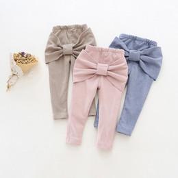 Wholesale Casual Kids Denim - Hug Me Girls pants Christmas Kids Clothing 2016 New Winter Cute Bow Pants Korean Fashion Velvet Trousers ER-842