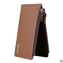 Wholesale Clasp Clutch Wholesale - Newest Man PU Wallet High Quality Leather Purse Zipper Card Holders Phones Bag Cross Grain Clasp Wallet Thin Double Zip Clutch Father's Day