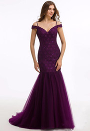 Wholesale Thin Strap Evening Gown - Sexy Grape Off The Shoulder Tulle Mermaid Evening Dress With Thin Straps Charming Applique Sequin Lace Prom Gown Party Dress