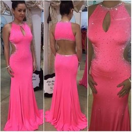 Wholesale China Sexy Women - Fuchsia Sexy Beaded Mermaid Evening Dresses Backless 2017 Formal Prom Party Gowns Special Occasion Dress For Women China Custom Made Dress
