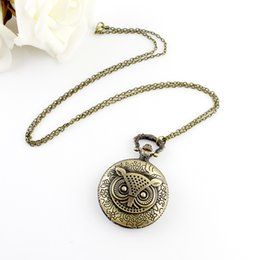 Wholesale Pocket Nurses Watch - Hot sale fashion vintage Owl Hunter Case Floral Necklace Pocket Watch