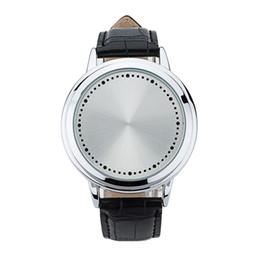 Нормальные часы онлайн-17 творческая личность минималистский кожа нормальный водонепроницаемый LED часы мужчины и женщины пара часы смарт-электроника повседневные часы