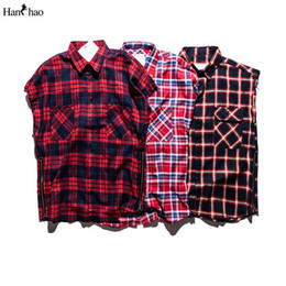 Camisas sem manga para homem on-line-Atacado-Plaid Shirts Men mangas 2017 Streetwear flanela Side Zipper Mens shirt de Hip Hop T para homens