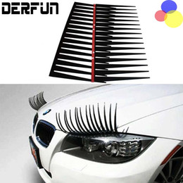 Wholesale wholesale vinyl films - 3D Car Logo Headlight Stickers Stereo Black Cute Car Eyelash Automotive Eyelashes Eyeliner 10pair(=20 pcs) Free Shipping
