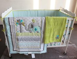 Wholesale Bird Bedding Sets - 8 Pieces Baby bedding set Embroidery 3D elephant bird Baby crib bedding set include quilt bed skirt bumper blanket Fitted