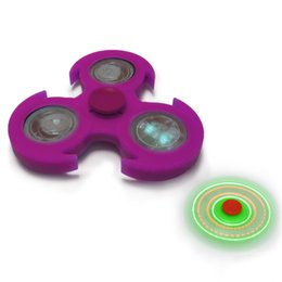 Wholesale Gel Light Wheel - LED Light Fidget Hand Spinner Finger Silica Gel and Metal EDC Gyroscope For Autism and ADHD Anti Stress Wheel Gift For Kids