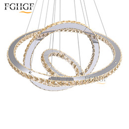 Wholesale Diamond Semi Mountings - Modern Chrome Chandelier Crystals Diamond Ring LED Lamp Stainless Steel Hanging Light Fixtures Adjustable Cristal LED Lustre