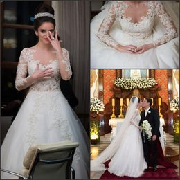 Wholesale Sparkly Lace Wedding Dress - Romatic Sparkly Wedding Dresses 2015 Lace Appliques Long Sleeves A Line With Beads Button Back Formal Bridal Gowns Vestido de Noiva 2016 new