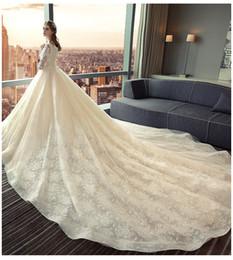Wholesale Floral Skirt Models - 2018 Luxury Vintage Lace Applique Monarch Train A-line Wedding Dresses Dubai Arabic Off-shoulder Princess Modest Bridal Dress