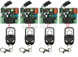Wholesale Garage Door 1ch - Wholesale- Hot Sales New 220V 1CH 10A Wireless Remote Control Switch System teleswitch 4*Receiver and 4*Transmitter Applicance Garage Door