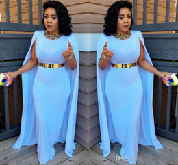 Wholesale black chiffon cape - Light Blue Plus Size Cape Style Evening Dresses 2017 Sheath Floor Length Evening Gowns Aso Ebi South African Women Formal Party Dresses