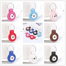 Wholesale Diy Car Leather - 8 colors PU Leather Snap button Keychains Round Square Snap keyrings Jewelry DIY 18MM Ginger Snap Buttons Key chain Car Keyring Accessories