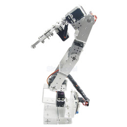 Wholesale Arduino Robot arm DOF Aluminium Clamp Claw Mount Kit Mechanical Robotic Arm Servos Metal Servo Horn Silver