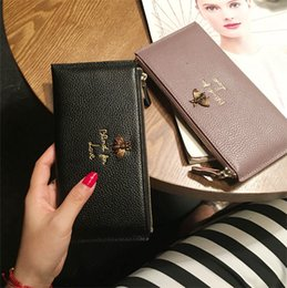 Wholesale purses discount - New women tassel Genuine leather long style zipper cow leather wallet lady fashion thin style purse phone bag discount