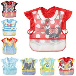 Wholesale Cover Baby Bib - Wholesale- Cartoon Colorful Baby Bibs Art Apron Cover Smock Children Bibs Burp Clothes Soft Feeding Eat Toddle Waterproof Bibs Meal Pocket