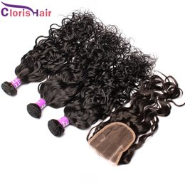 Wholesale Wavy Extentions - Water Wave Peruvian Hair With Closure Unprocessed Curly Extentions Wet And Wavy Top Human Hair Weave 3 Bundles With Lace Closure