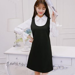 Wholesale Culb Dresses - 2017 New Fashion Women Dress Spring And Autumn Patchwork Suit Preppy Style Plus Size Slim A-line Long Sleeve Party Culb Work