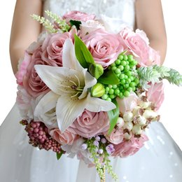 Wholesale Wedding Flower Bouquets Lily - 2018 New Arrival Wedding Flowers Pink Wedding bouquets Bridesmaids Artificial Silk Rose Lily Bridal Bouquet Wedding Accessories