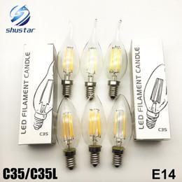 Wholesale E27 Led Yellow - Edison bulb C35 C35L led candle lamp E14 2W 4W 6W COB High Power Lamp AC220V 85-265V Energy Saving Light For Pendant Lamps