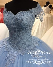 Wholesale Sweet Water Pearls - Light Blue Lace Sweet 16 Quinceanera Dresses 2017 Ball Gown Off Shoulder Pearls Puffy Tulle Masquerade vestidos 15 anos Birthday Prom Gowns