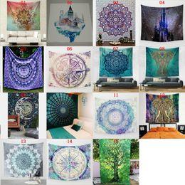 Wholesale Hang Carpet - 15 Styles Bohemian Wall Hanging Indian Mandala Blanket Elephant Square Beach Tapestry Hippie Throw Yoga Home Decoration Pool Mat Carpets