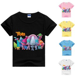 Wholesale Sublimation Clothes - T Shirt Kids Clothes for Girls and Boys Trolls Cartoon Short Sleeve T-Shirt Trolls All Over Sublimation Print Rolled Sleeve cloth