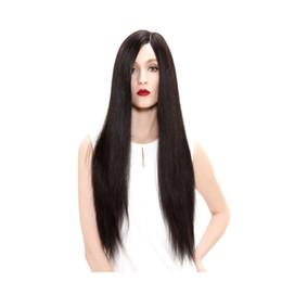 Parrucca piena del merletto dei capelli umani Parrucca di seta anziana Parrucche piene del pizzo ondulate lunghe Capelli vergini brasiliani 100% con gli scoppi per le donne Colore 2 # Colore naturale da